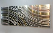 Extra Large Silver & Gold Modern Abstract Metal Wall Art Painting by Jon Allen