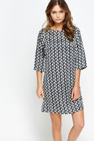 Womens Printed Zip Back Tunic Dress Dark Blue Multi