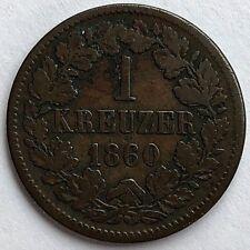 1860 GERMAN STATES - BADEN - 1 KREUZER   -  NICE FINE  -   FREE SHIPPING!