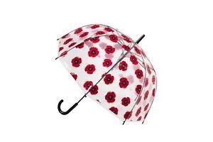 Premium Pattern Clear Dome Strong Stick Umbrella Poppy/Polka Dot Womens 81cm