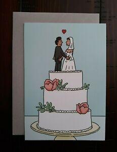 WEDDING CARD - Hallmark Greeting Card - Funny - Humor - Wedding Couple on Cake
