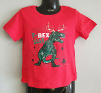 BNWT Little Boys Sz 1 Best And Less red Dino Christmas Cute Cotton Print Tee Top