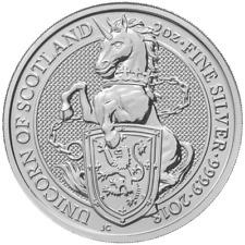 2018 U.K. £5 Silver Queen's Beasts Unicorn 2oz BU in Cap with Velvet Gift Pouch