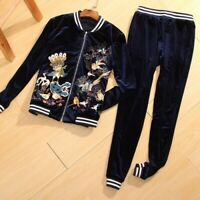 High-end Women Set Embroidery Birds Baseball Coat Top + Pant Casual Velvet Suit