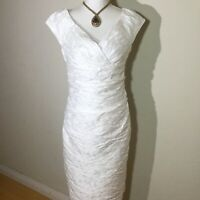 Suzi Chin For Maggy Boutique Size 4 V Neck Textured Sheath Party Dress In White