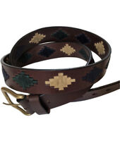 """Lujan"" 100% Argentine Embroidered Leather Polo Belt - Brown - The Best Quality"