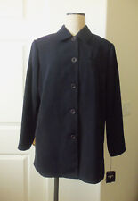 studio g Naval Blue Polyester Lined Button Front Long Sleeve Jacket - L