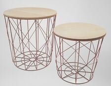 Nest of 2 tables Copper Wire Industrial Storage Bedside Coffee Table Steampunk