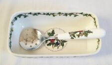 Portmeirion The Holly and Ivy Serving Dish - Cranberry Dish & Spoon NEW