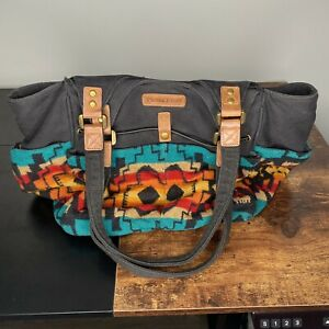 Pendleton Womens Large Two Tone Southwest Aztec Wool and Canvas Bag