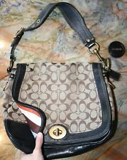 COACH Authentic $498 LEGACY Stripe ALI Signature Bag Purse Black Leather EUC!