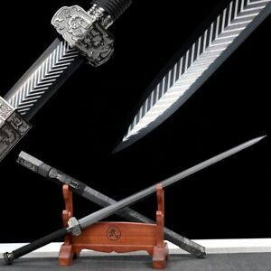 Real Steel Sword Chinese Traditional Han Dynasty Handmade 1060 High Carbon Steel