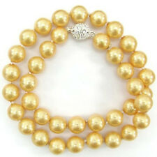 """10mm Golden South Sea Shell Pearl Necklace 18"""" AAA Rhinestone Magnet Clasp"""