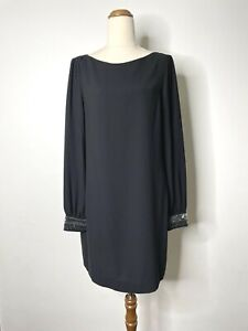 Rachel Roy Size Large Black Long Sleeve Beaded Button Cuff Relaxed Shift Dress