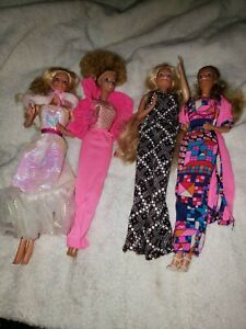 Lot Of Four barbie Dolls 1966 Taiwan With Vintage Clothing and some with earring
