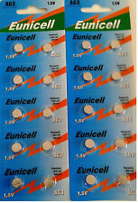 ENVOI AVEC SUIVI - EUNICELL - 20 Piles Bouton  AG3/392/LR41/SR41SW