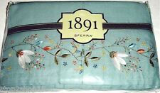 Sferra Kippy Twin Linen Bed Skirt Floral Embroidery 3 Panel Blueish Green New