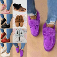 Women's Bowknot Loafers Moccasins Plush Lined Slip On Casual Shoes Winter Warmer