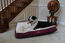 Armarkat Heavy Duty Canvas Soft Plush Cat Dog Pet Bed Mat Burgundy Ivory Large