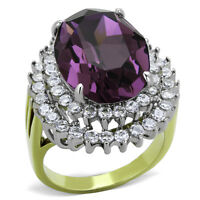 STAINLESS STEEL 14.5CT CRYSTAL TWO TONED 316L COCKTAIL RING CHOOSE COLOR SZ 5-10