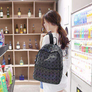 Women's Luminous Backpack Geometric Shoulder Bag Hologram Student's School Bag