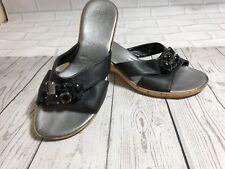 Women's Black Marks & Spencer Wedge Heel Summer Mules Slip On Shoes Size 5