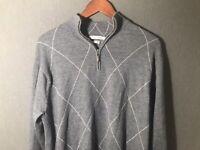 PETER MILLAR Men's Gray 100% Merino Wool 1/4 Zip Sweater Size L Large