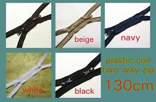 Plastic Zip Two Way Zip No5 Plastic Zipper 5 colors 130cm long Double Zipper