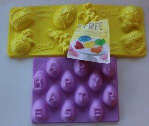 3 Jello Jigglers Easter Molds...Happy Easter & Celebrate Spring...Bunny, Basket,