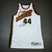 100% Authentic Greg Foster Champion 99 00 Sonics Signed Game Issued Jersey 52+4""