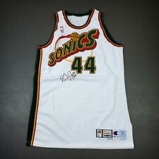 """100% Authentic Greg Foster Champion 99 00 Sonics Signed Game Issued Jersey 52+4"""""""