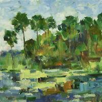 Art Oil Original Painting by RM Mortensen Landscape Seascape Beach Palm Trees