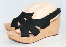 64204b25e48 NWOB CLARKS Annadel Bari Wedge Slingback Sandal Wo s 10 Black Lthr Open Toe