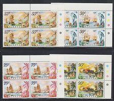 Barbuda Sc 209-212 Mnh. 1975 Naval Battles, Sheet Corner Blocks of 4, cplt set