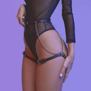 Sexy Lady Bondage Garter Leg Harness Belt Leather Chain Briefs Suspender Belt AU
