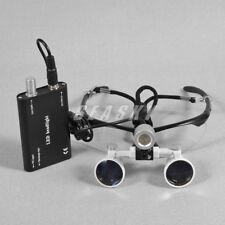 Gafas Binoculares Lupa para Dental 3,5 X R con Luz LED Frontal Head Light Silver