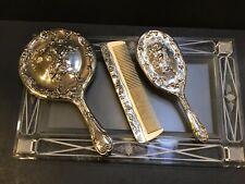 Vintage Silver-Plated Vanity Dresser Mirror Brush Comb Set w Putti Cupid Angels