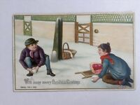 Antique Raphael Tuck Christmas Card Victorian Snowball Fight F.A.R  Signed