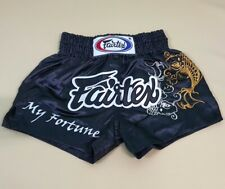 FAIRTEX SHORTS MUAY THAI KICK BOXING GENUINE MMA XL BLACK SATIN FORTUNE FISH