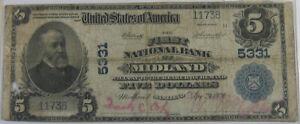1902 $5 PB NATIONAL BANK NOTE - CH #5331 FNB MIDLAND MD: FR-607 PCGS APP F-12