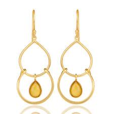 14K Gold Plated Handmade Yellow Chalcedony Dangle Earrings Wedding Jewelry
