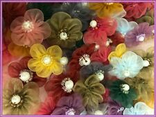 """1"""" Organza Flowers with 5 Petals Applique Sewing Craft 100 Mixed Colors 1250D"""