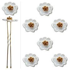6 épingles pics cheveux chignon mariage mariée danse fleur dentelle blanche & or