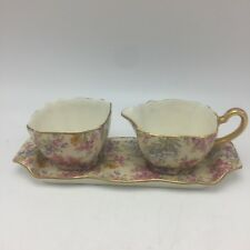 Nelson Ware HEATHER Creamer Sugar Plate Square Yellow Chintz Floral 1948 BCM