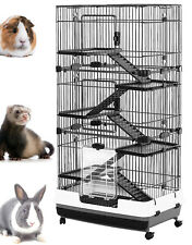 "6-Levels 58"" Indoor Rabbit Cage Small Animal Hutch Ferret House Habitat Wheels"