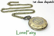 Antique Bronze Fall Out Vault 111 Necklace Pocket Watch Gaming