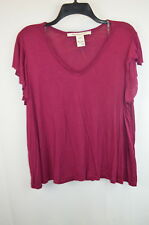 American Rag Women's Plus Size 0X V-Neck Distressed Top Blouse tee Red  NWOT