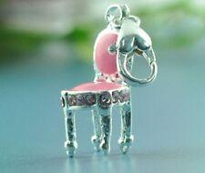 LOVELY rosa e argento Sedia con Strass Rosa A Clip Fascino per bracelets-new