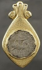 Rare Antique Greek Silver Coin, 14K Solid Gold Etruscan Scrolled Pendant