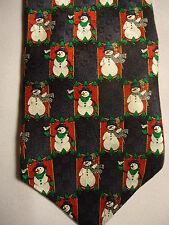 "Holidays MMG Black Red Green White Christmas Snowmen Silk Tie 58"""